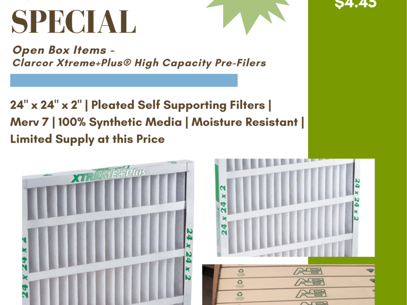 Newly Reduced - Clarcor Extreme +Plus High Capacity Pre-Filters