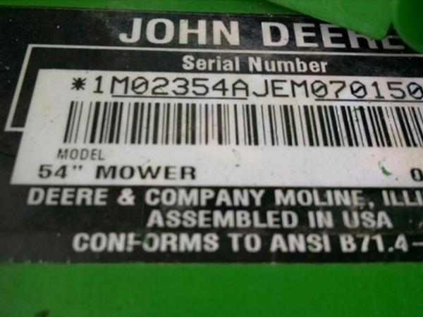2014 John Deere 54D Lawn and Garden
