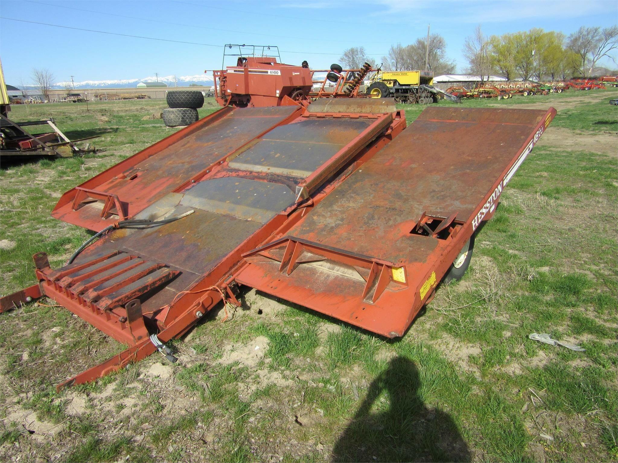 Hesston 4820 Bale Wagons and Trailer