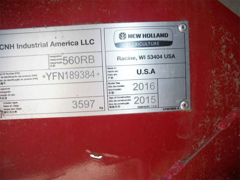 2016 New Holland Roll-Belt 560 Round Baler