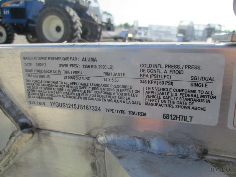 2018 Aluma Aluminum Single Axle Utility 6812HTILT Flatbed Trailer
