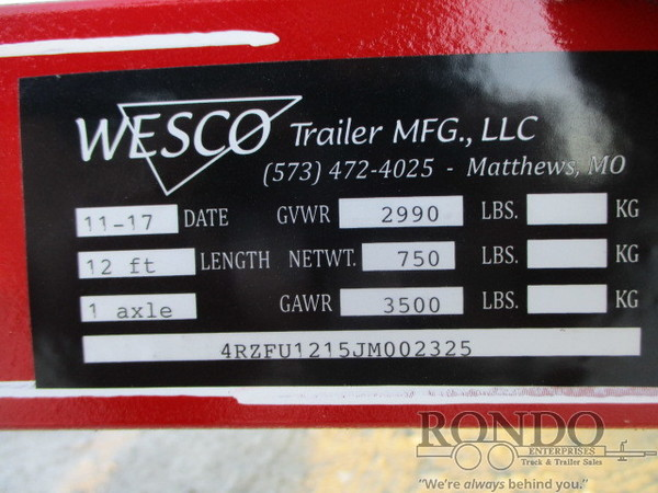 2018 Wesco Single Axle Utility Flatbed Trailer