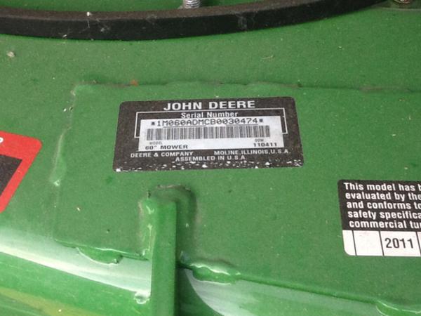 2011 John Deere 60D Lawn and Garden
