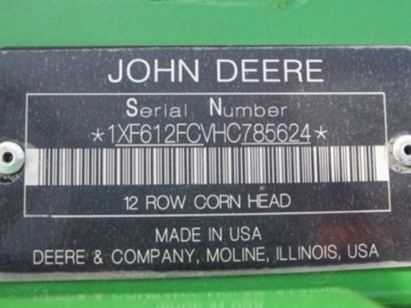 2017 John Deere 612FC Corn Head