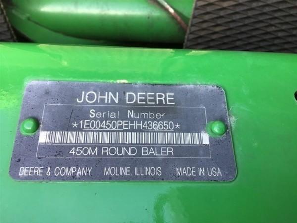 2017 John Deere 450M Round Baler