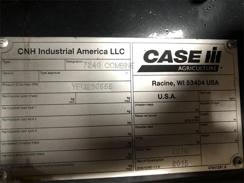 2016 Case IH 7240 Combine