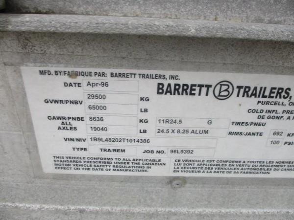 """1996 Barrett 48'X102"""" Livestock Trailer"""