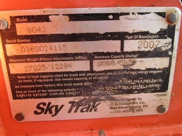 2007 SkyTrak 8042 Telehandler