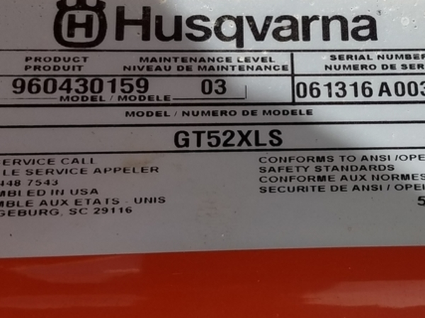 2016 Husqvarna GT52XLS Lawn and Garden