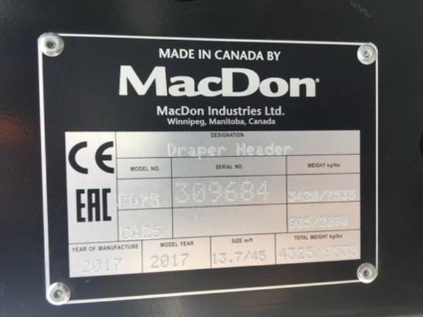 2017 MacDon FD75-45 Platform