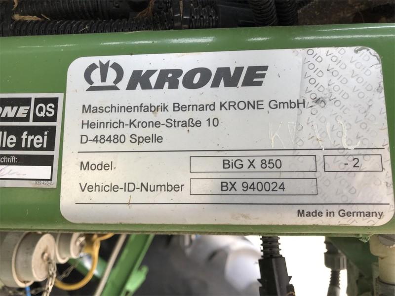 2016 Krone BIG X 850 Self-Propelled Forage Harvester