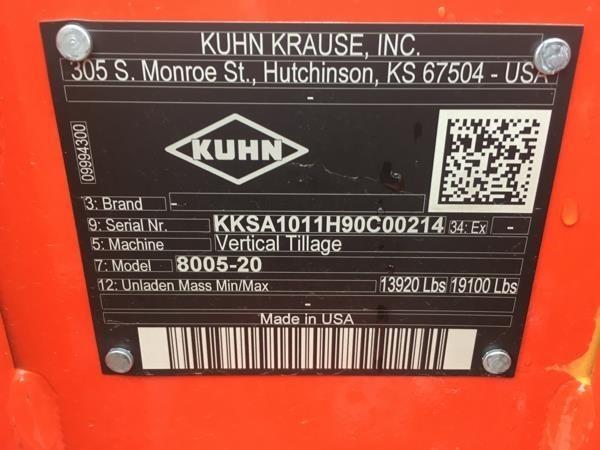 2019 Kuhn Krause 8005-20 Vertical Tillage